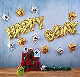 Takefuns 16 lettere HAPPY B-DAY Spessore Mylar Decorazioni ad aria piena di lettere di alfabeto arancione oro Balloon Banner Banner Foglia per compleanni e feste e anniversario