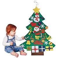 Outgeek Feutre Arbre de Noël, 3.28ft Sapin de Noël Décoration Vitrine DIY Feutre avec 30 Ornements détachables Cadeaux de Noël pour Noël pour Les Enfants Porte-Manteau Décoration Murale de Porte