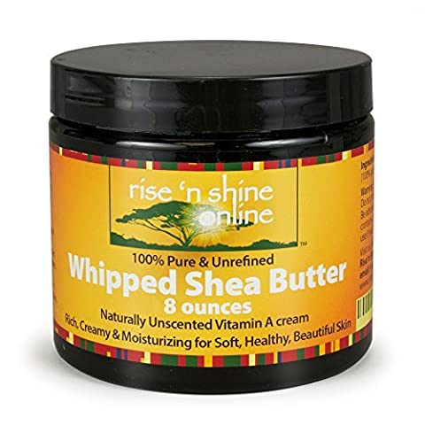 (8 oz) Whipped African Shea Butter Cream - Pure 100% All Natural Organic Moisture for Soft Skin and Natural Hair - Body Butter Improves Blemishes Stretch Marks Scars Wrinkles Eczema & Dermatitis