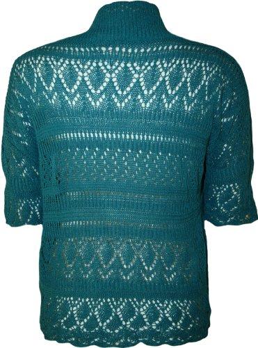 WearAll - Boléro Cardigan Ouvert Tricoté Crochet à Manches Courtes - Hauts - Femme - Grandes Tailles 44-48 Sarcelle