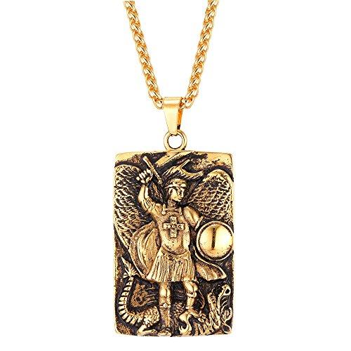 U7 Rechteck Anhänger Halskette 18k vergoldet Erzengel Saint Michael Kettenanhänger mit Weizenkette Katholisch Religiöser Schmuck für Männer Herren, Gold-Ton