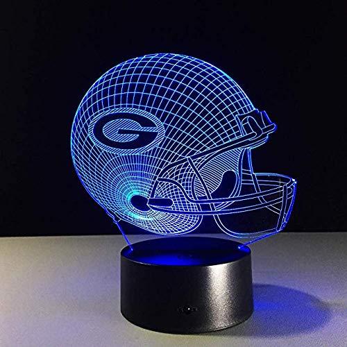 3D Nachtlicht Fußball Green Bay Packers Helm Led Licht 7 Farbwechsel Tischlampe Bunte Kinder Weihnachtsgeschenke
