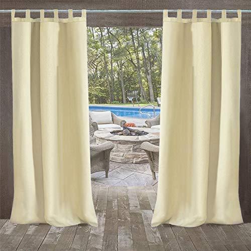 DOMDIL Outdoor Vorhang mit Schlaufen 2 Stück,132x215cm Gartenlauben Balkon-Vorhänge Verdunkelungsvorhänge Wasserdicht Mehltau beständig für Pavillon Strandhaus, Beige