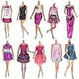 ASIV 10 Piezas Moda Hecha a Mano Casual Suave Paño Muñeca Mini Falda con 10 pares de Zapatos para Barbie Estilo Aleatorio