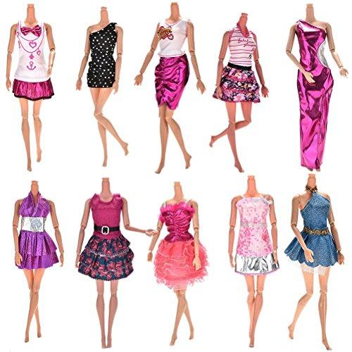 ASIV 10 x Moda Hecha a Mano Falda de fiesta de boda vestido, 10 pares de zapatos para Ropa de muñecas Barbie, estilo aleatorio