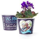 44. Hochzeitstag Geschenk – Blumentopf (ø16cm) | Geschenkidee zur Sternenhochzeit für Mann oder Frau mit Herz Bilderrahmen für 1 Foto (10x15cm) | Glücklich Verheiratet - 44 Jahre