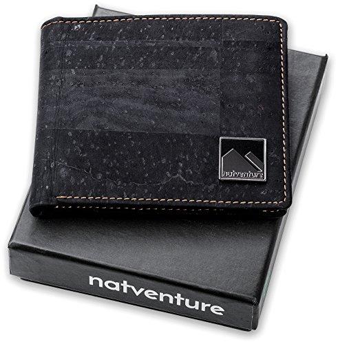 natventure® Geldbeutel aus Korkleder mit RFID Schutz, Portemonnaie Männer & Frauen, kleine Geldbörse ohne Leder, Ökologisch & Vegan, Braun & Schwarz inkl. Geschenkverpackung