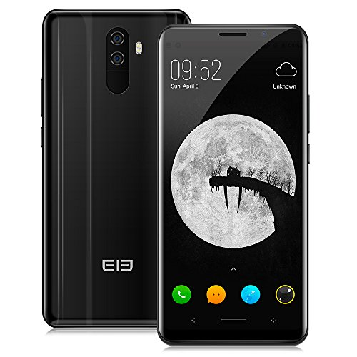 "Elephone U Pro(6GB/128GB)4G Smartphone ohne Vertrag, 5.99"" 3D Curved 18:9 AMOLED-Display, Android 8.0, Qualcomm Snapdragon 660 2.2GHz Octa-Core, Gesichts-Entsperrung, Dual 13MP Back-Kameras, 3550mAh+Wireless Quick Charging,OTA OTG Dual SIM - Schwarz"
