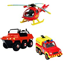 Sam El Bombero - Fireman Sam - Mini Serie Die Cast - Set Vehículos - Hydrus, Venus, Helicóptero