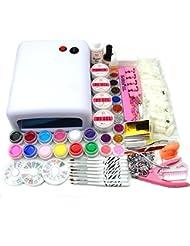 Coscelia 36W Lampe 12 Couleur Gel UV Ongles Colle Pinceau Cuticule Nail Art Tips Decor Manucure Kits