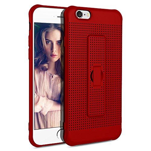 HandyHülle iPhone 6s Hülle, Rosa iPhone 6 Schutzhülle Matt Ultra Dünn Atmungsaktiv Kühlung Mesh Flexibel TPU Silikon Anti Fingerabdruck Hülle mit Halter für iphone 6s (Mesh-handy-halter)