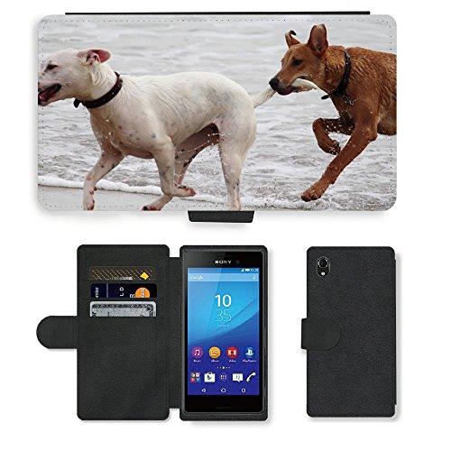 Just Phone Cases PU LEDER LEATHER FLIP CASE COVER HÜLLE ETUI TASCHE SCHALE // M00421764 Hunde Stöckchen zu spielen Beißen Romp // Sony Xperia M4 Aqua