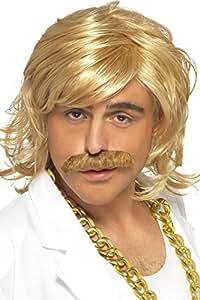 Smiffys Déguisement Homme, Kit Animateur TV, Perruque et moustache, Taille unique, Couleur: Blond, 42128