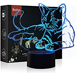HeXie Christmas Gift Magia Kawaii Kitten Lamp 3D Illusion 7 Colores Touch Switch USB Insertar Luz LED Presente de cumpleaños y decoración de fiesta