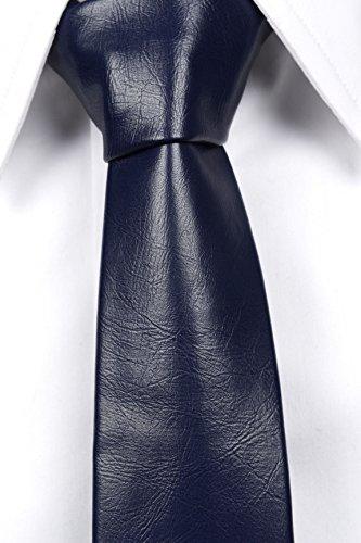 Notch Schmale Krawatte aus Leder Imitat für Herren - Einfarbig Navy