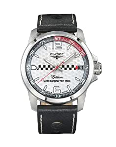 Elysee Men's Quartz Watch with Silver Dial Analogue Display and Black Leather Strap 80463