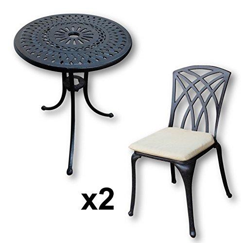Lazy Susan - EVE 60 cm Bistrotisch mit 2 Stühlen - Rundes Gartenmöbel Set aus Metall, Antik Bronze (MAY Stühle, Beige Kissen)