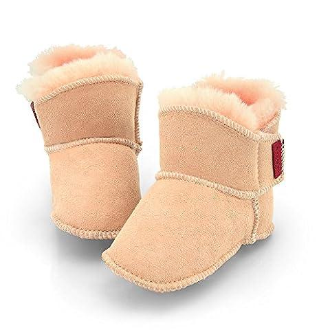 Lammfell Babyschuhe Klettverschluss pink rosa 16/17 (einfacher