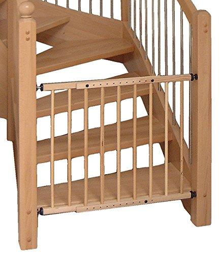 Cancelletto di sicurezza per scale protezione in legno massello per bambini mod. BRAVO naturale lucido