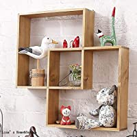 Ablerhome Decoration Solid Wood Intersecting Wall Shelf Vintage Natural Pine Wood Storage Display Shelves Decor Hanging 3 Compartment Shelving Shelf (Natural Wood)