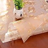 HM&DX Gefrostet Transparent Tischdecken Wasserdicht PVC Tabelle beschützer Abwaschbar Weiches Durchsichtige Tisch decken tuch Abdeckung für kaffee, wohnküche-gold 90x140cm(35x55inch)