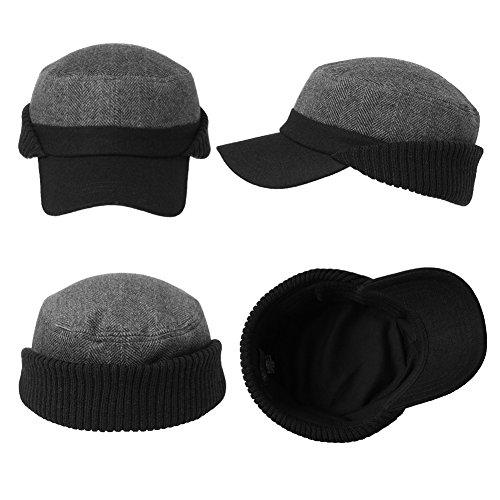 Siggi Mens Thick Wool Winter Baseball Cap with Ear Flaps Faux Fur ... ea8b307abd33