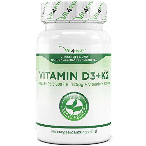 Vitamin D3 5000 I.E + Vitamin K2 200mcg Menaquinon MK7 Depot – 100 Tabletten – Alle 5 Tage eine Tablette – Vegetarische Tabletten – Vit4ever