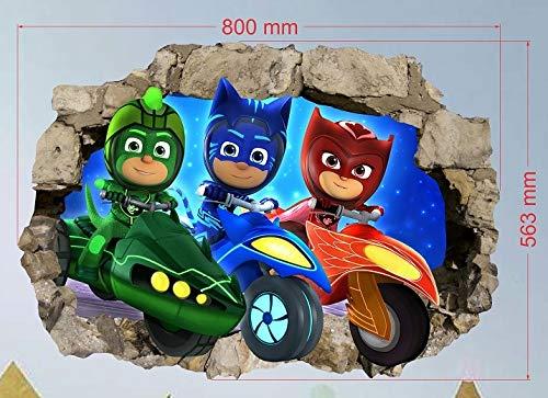 PJ Masken Wandaufkleber für Kinderzimmer, Jungen und Mädchen, PJ Masken, Größe L