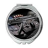 Spiegel, Compact Mirror, Maschinengewehrprediger, Runder Spiegel, Waffen, Taschenspiegel, tragbarer Spiegel