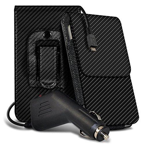 Preisvergleich Produktbild N4U Online - Motorola Moto X Force Premium Karbonfaser Tasche Gürtel Holster Hülle Hülle & Auto Ladegerät