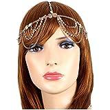 Fashion Jewelry ~Rhinetones Draped Goldtone Head Chain Headband (IHC1029-GLD))