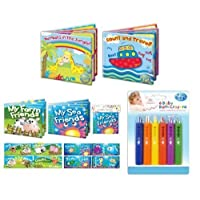 First Steps Fun and Educational Bath Time Set with Pack of 6 Crayons and Pack of 4 Floating Books