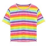 TUDUZ Damen Gestreift Crop Top Kurzarm Streifen Shirt Oberteile