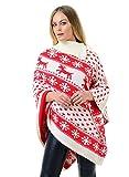 Momo&Ayat Fashions Ladies Reindeers et Snowflake Christmas Jumper EUR Taille 36-44 (L/XL (EUR 44-46), Poncho à la crème)