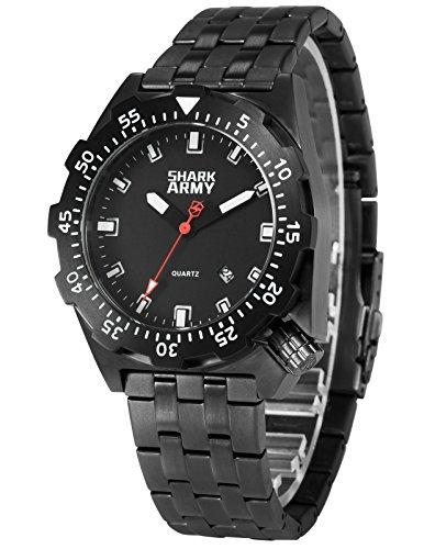 SHARK ARMY Herren Armbanduhr Wasserdicht Analog Quarz Edelstahl Armband Datum Anzeige mit Eisen Box SAW190