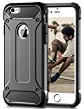 Coolden iPhone SE Hülle, Premium [Armor Serie] iPhone 5S Outdoor Stoßfest Handyhülle Silikon TPU + PC Bumper Cover Doppelschichter Schutz Hülle für iPhone 5/5S/SE (Grau)