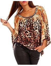 Young-Fashion Damen Oversized Shirt Strassnieten Fledermausärmel Bluse  Hippie Shirt 3ce8094c60
