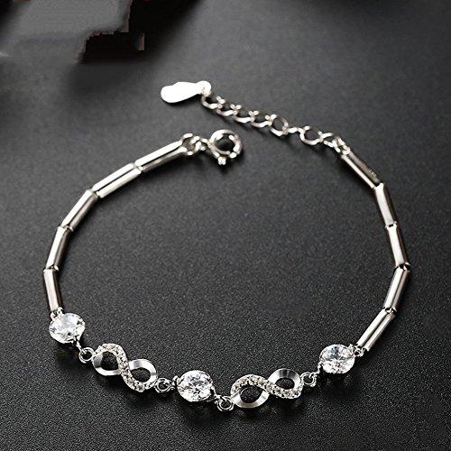 Man9Han1Qxi Elegante Frauen Braut Hochzeit unendlichkeit Nummer 8 Charm zirkonia cz braceletlady Armband für männer und Frauen Damen