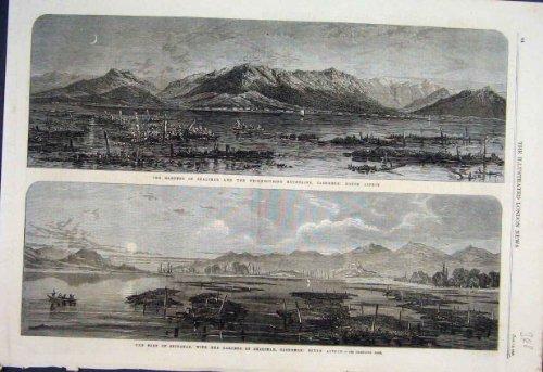 Shalimar Gärten (Alter Druck des Shalimar-Garten-Boots-Fort-Kaschmir-1866)