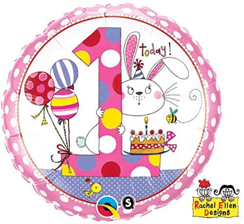 paduTec Zahlenballon Ballon Folienballon Luftballon - 1 Jahr Alter - Happy Birthday Geburtstag Mädchen - geeignet zur befüllung mit Luft oder Helium Gas - UNGEFÜLLT - zum selber füllen (Alter 1 Luftballons)