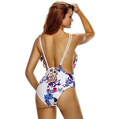 Erica Frauen-Strand-Einteiler-Bikinis-Badebekleidung-Blumendruck-Bandeau-drahtloser gepolsterter Büstenhalter-Badeanzug as figure