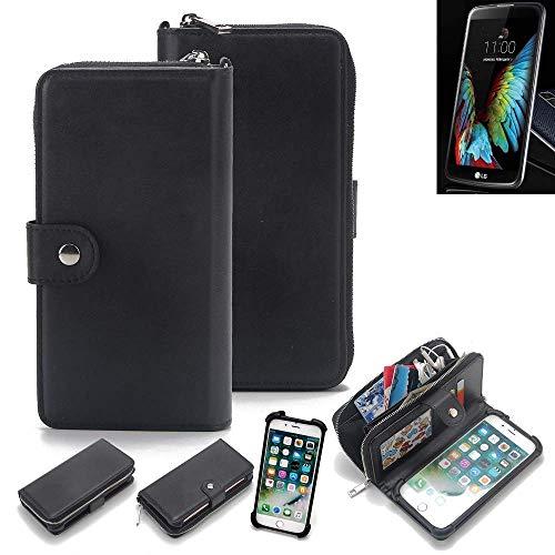 K-S-Trade 2in1 Handyhülle für LG Electronics K10 (3G) Schutzhülle & Portemonnee Schutzhülle Tasche Handytasche Case Etui Geldbörse Wallet Bookstyle Hülle schwarz (1x)