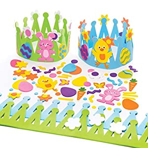Baker Ross Easter Crown Kits (Pack of 2) Easter Crafts For Kids to Make, Personalise and Wear For Fancy Dress