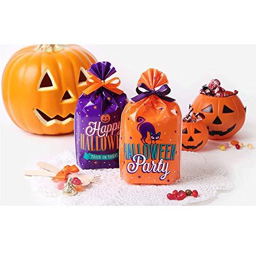 aaasue verwendbar Kunststoff Biscuit Taschen, Halloween OPP Geburtstag Sweet Party Hochzeit Cookies Candy Lebensmittel Verpackung Taschen, 50Stück 50pcs Violett (1)