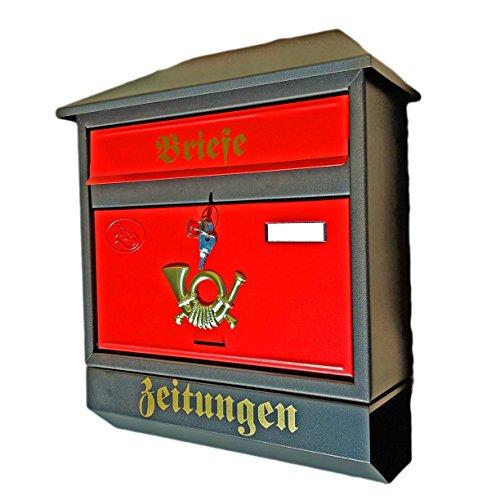 Großer Briefkasten / Postkasten XXL Schwarz Matt / Rot mit Zeitungsrolle Zeitungsfach Schrägdach Trapezdach