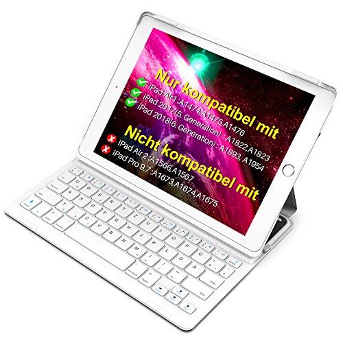 astatur Hülle kampatibel mit iPad 2018(6. Generation), iPad 2017(5.Generation) und iPad Air 1, Keyboard Case mit Mulit-Angle- Ständer-Funktion,QWERTZ Layout, BK2003 LG ()