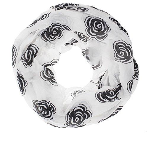 lauchschal Tuch Schal Seide Rosen Blumen luftig 88-01 Weiß / Schwarz (Schwarz Und Weiß Seide Blumen)