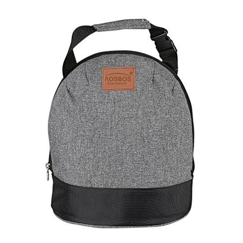 Borsa termica aosbos da pranzo borsa da pranzo riutilizzabile borsa tote termica con tracolla a strappo removibile per donne uomini bambini (grigio)
