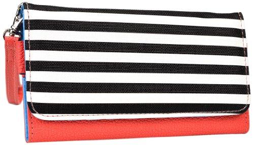 Kroo esamwlb1Epi-Slim Clutch Wallet Schutzhülle aus Leder für Smartphone, Coral with Black and White Stripes, Up to 4 Inch - Gucci Coral