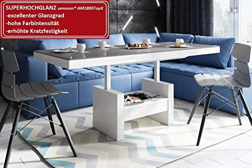 Design Couchtisch HLU-111 Grau Weiß Hochglanz Schublade höhenverstellbar ausziehbar